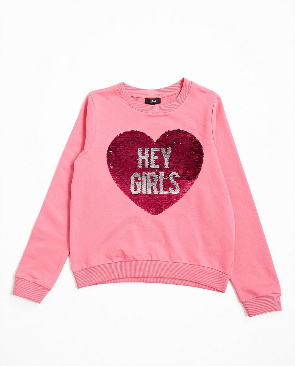 Hellrosa Swipe-Sweater - mit Pailletenherz - JBC
